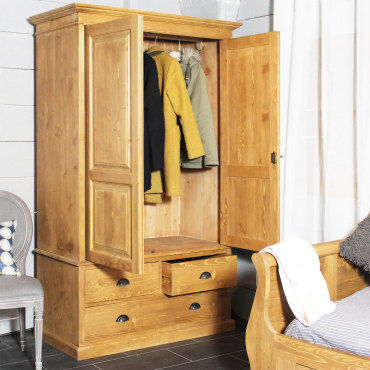 Armoire bois massif 2 portes 1 penderie 3 tiroirs n127 for Armoire bois conforama