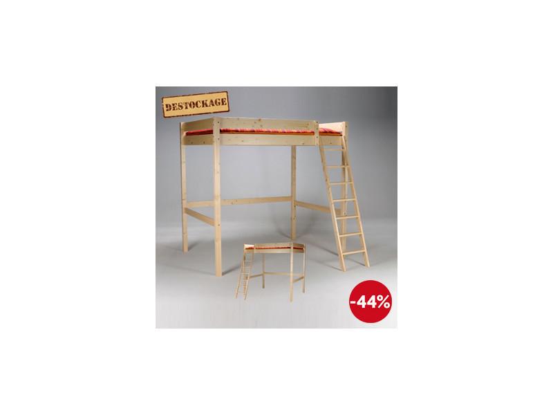 lit mezzanine tina 140x200 1 sommier vernis naturel. Black Bedroom Furniture Sets. Home Design Ideas