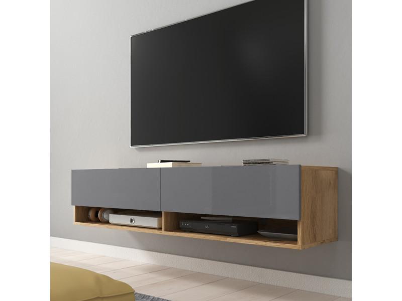 Meuble tv - wander - 140 cm - chêne wotan / gris brillant