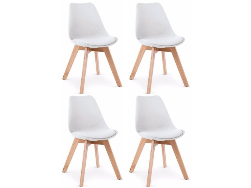 lot de 4 chaises oslo design scandinave blanche pi tement en h tre 20100861329 vente de chaise. Black Bedroom Furniture Sets. Home Design Ideas
