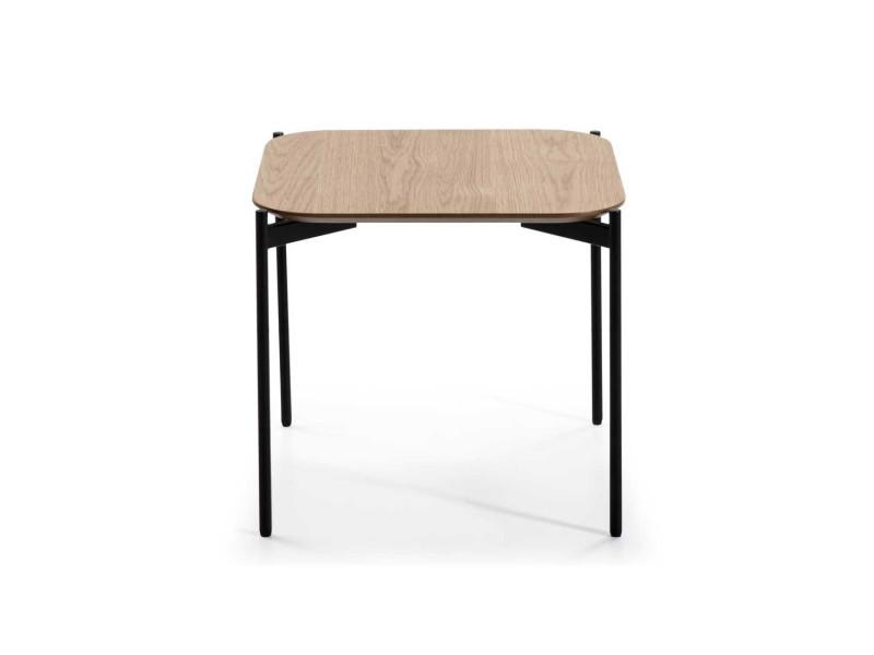 Bout de canapé carré chêne/noir- radia - l 50 x l 50 x h 35 - neuf