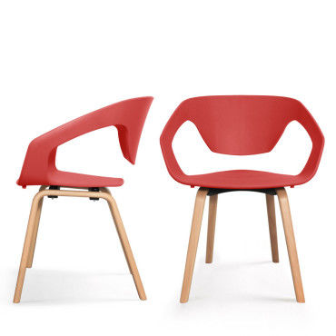 Lot de 2 chaises design scandinave danwood - couleur - rouge PW ...
