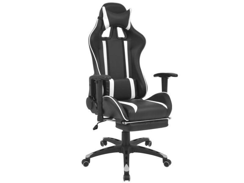 Vidaxl chaise de bureau inclinable avec repose pied blanc
