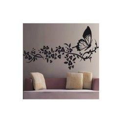 Sticker papillon et fleur