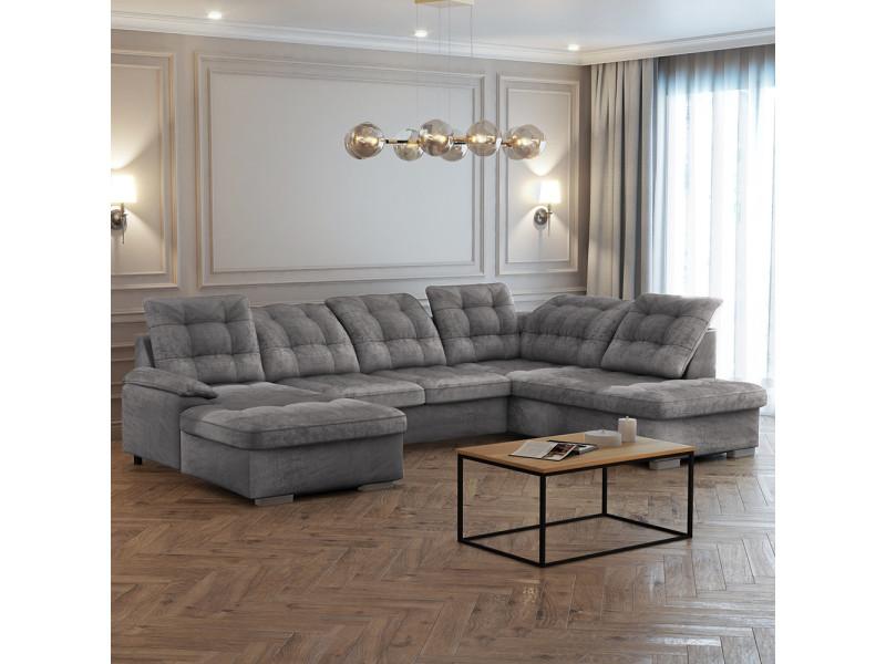 Canapé panoramique gauche - jamaal - tissu gris clair