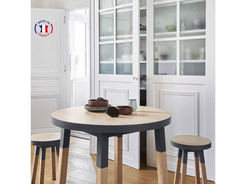 Table ronde 100% frêne massif 100x100 cm bleu sombre de rance - 100% fabrication française