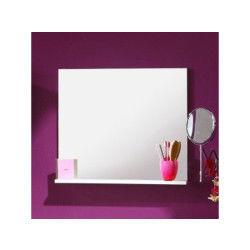 Miroir de salle de bain blanc avec tablette, h 57 x l 60 x p 11 cm -pegane-