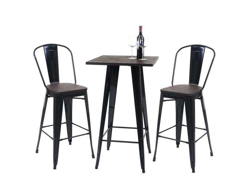 Set table mange-debout + 2x tabouret de bar hwc-a73, plateau en bois, design industriel, métal ~ noir