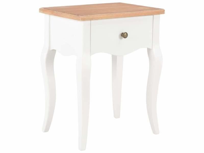 Table de nuit chevet commode armoire meuble chambre blanc et marron 40x30x50 cm bois de pin massif helloshop26 1402112