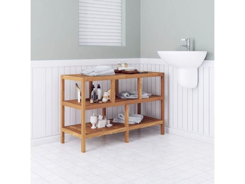 Vidaxl étagère de salle bain bois noyer massif 100 x 40 65 cm ...