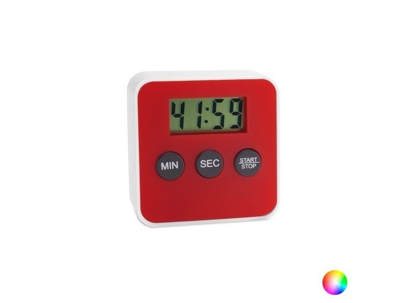 Minuterie magnétique à écran digital 100 minutes - compteur aimant cuisine couleur - rouge
