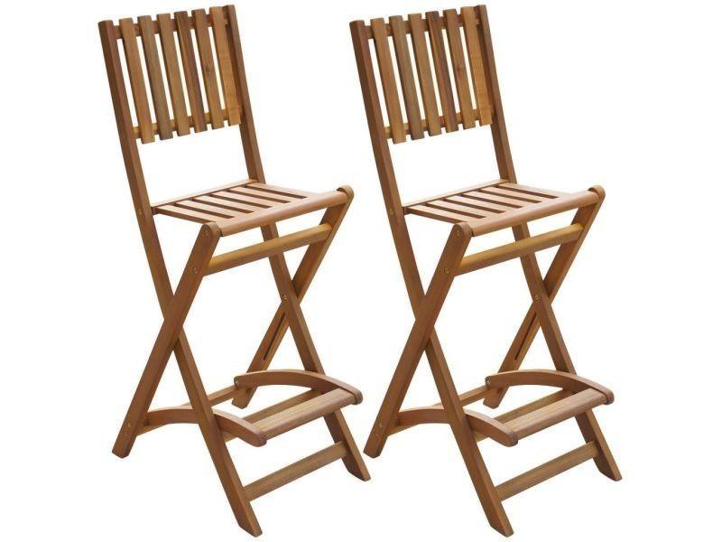 Vidaxl chaises pliantes de bar d'extérieur 2 pièces bois d'acacia 42656