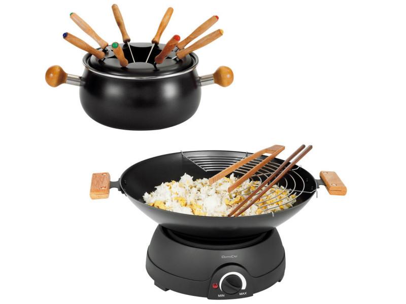Set wok et fondue électrique 1600w 8 fourchettes - dom194 dom194