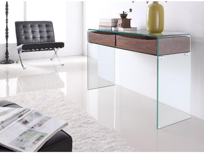 Console design en verre et bois glasswood