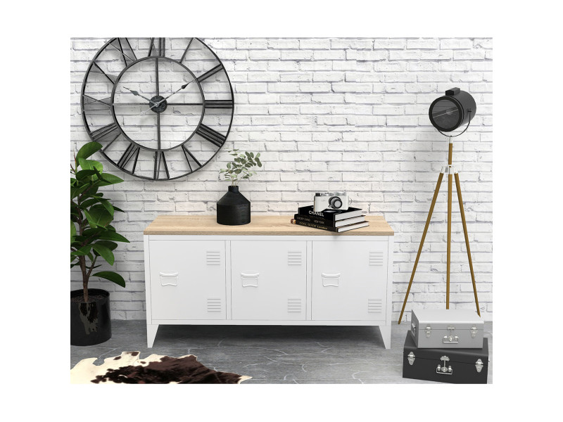 Meuble tv caisson métal bois casier 3 portes blanc