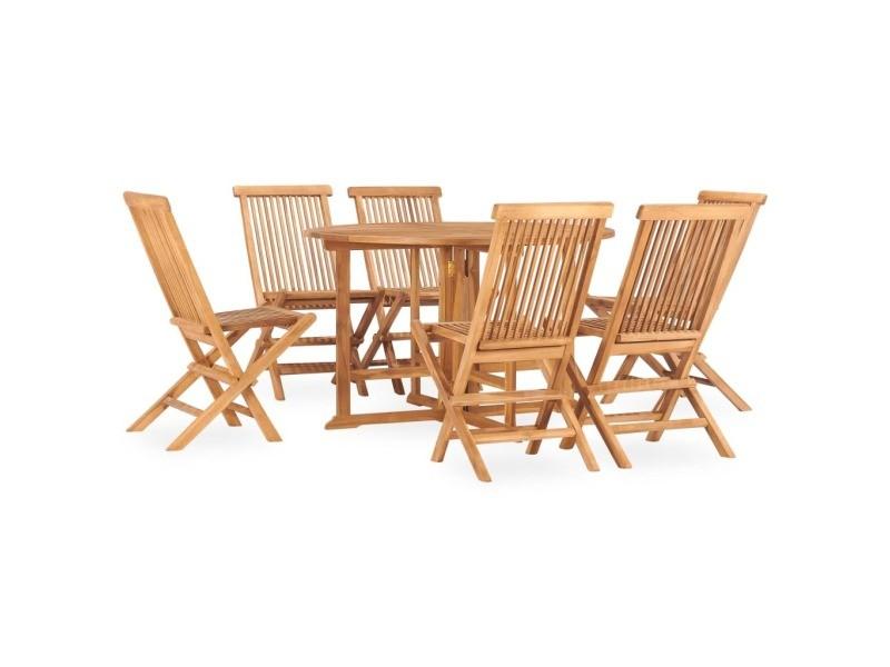 Vidaxl mobilier à dîner d'extérieur pliable 7 pcs bois solide de teck