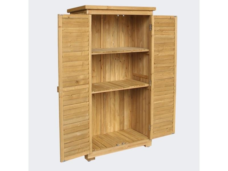 Cabane abri de jardin avec doubles portes 87 x 46 x 160 cm bois d'épicéa helloshop26 2216002