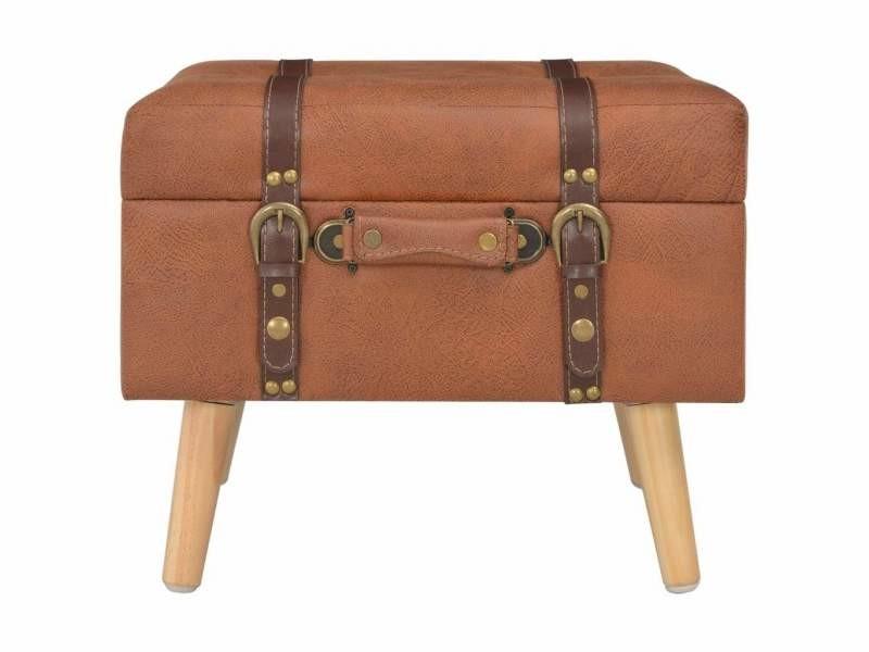 Banquette pouf tabouret meuble tabouret de rangement 40 cm brun roux similicuir helloshop26 3002110 - Vente de HELLOSHOP 26 eDaBs