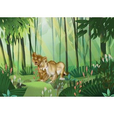 Papier peint Disney Roi Lion Simba Nala Mufasa vert clair l3022-3 3,71 €//1qm
