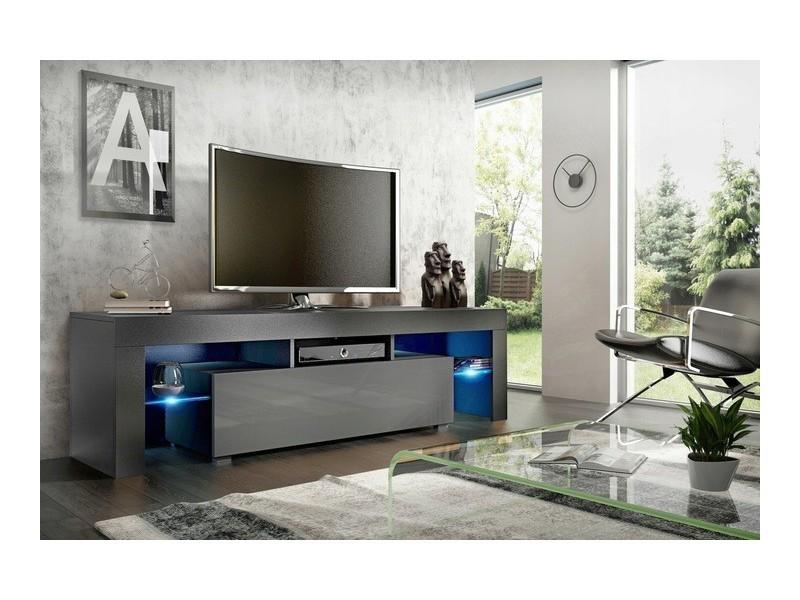 Meuble tv 160 cm noir mat et gris brillant led rgb
