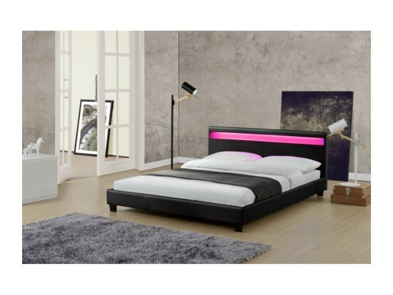 magnifique lit love 160x200cm cadre de lit led en simili cuir noir sbrled 001 160 bk vente. Black Bedroom Furniture Sets. Home Design Ideas