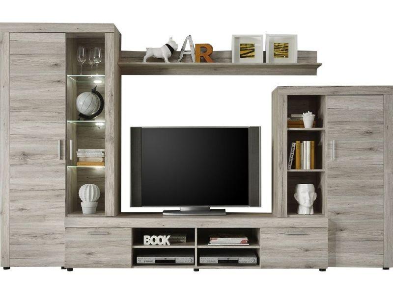 Ensemble Meuble Tv 301 Cm Avec 1 Banc Tv 2 Vitrines Et 1 étagère