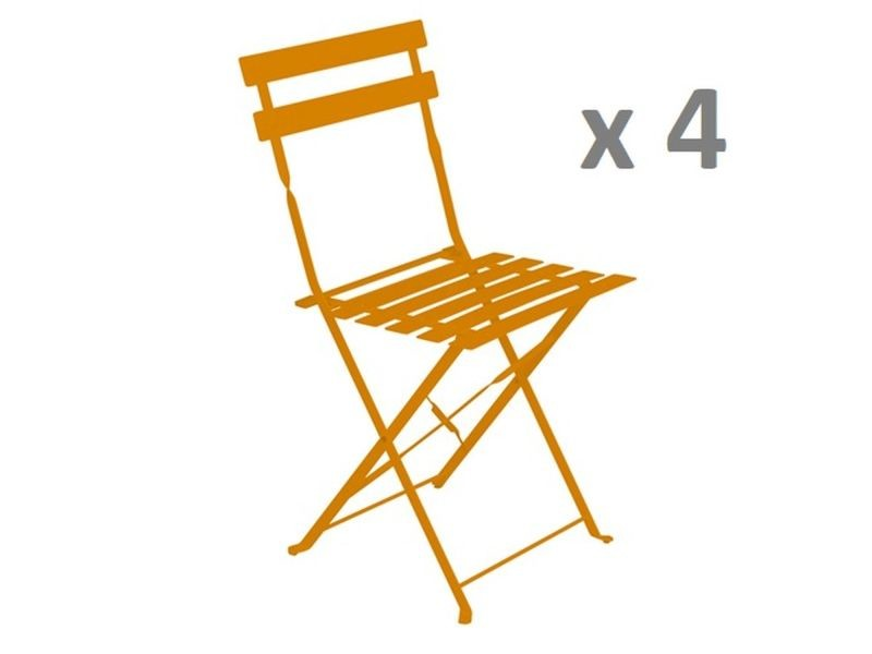 Lot de 4 - chaise de jardin pliante camarque - orange - Vente de ...