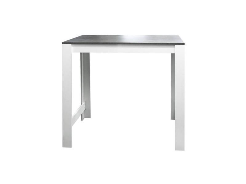 9ed05765c798b5 Curry table bar de 2 a 4 personnes style contemporain blanc mat et effet  béton - l 110 x l 70 cm - Vente de Table - Conforama