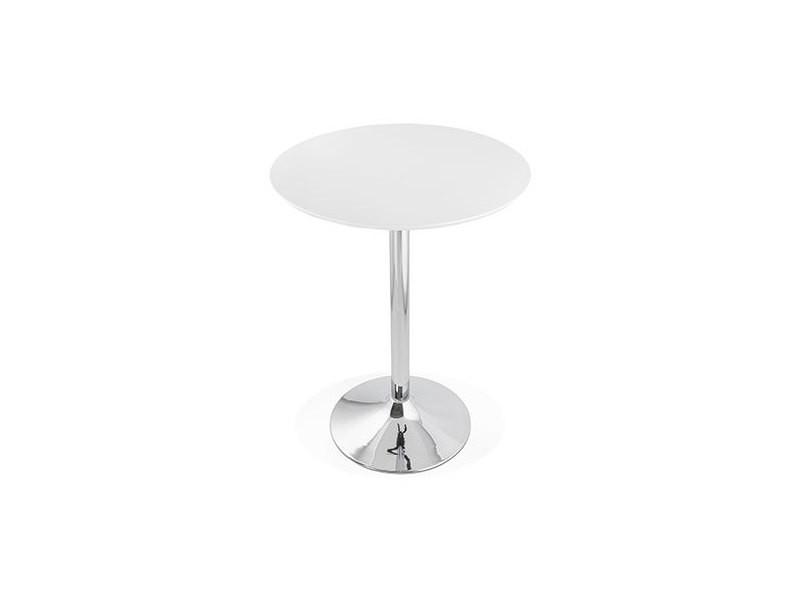 Table de bar ronde 90 cm plateau blanc et pied métal - barman