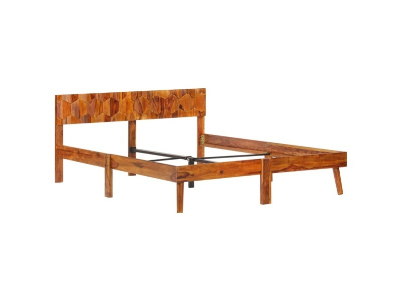 Vidaxl cadre de lit bois massif 140x200 cm cadre 2 personnes