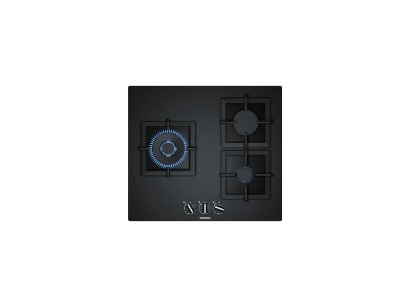 Siemens table cuisson gaz - 3 bruleurs - 1 wok 4000w - verre noir - stepflame - 59cm