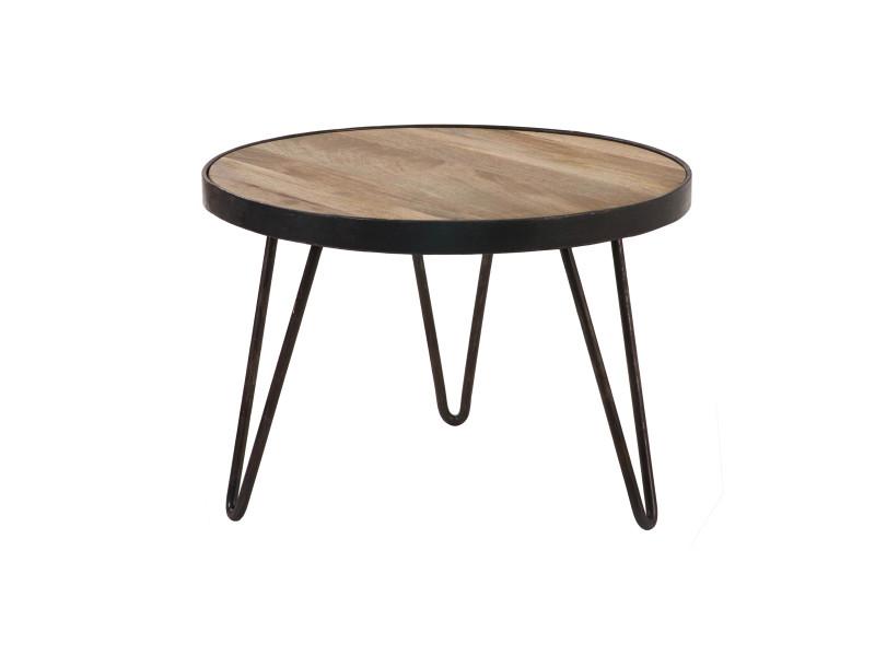 Table basse ronde design industriel 50x35 cm atelier - Table basse ronde conforama ...
