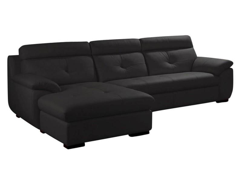 Canapé cuir angle dana - gauche - noir