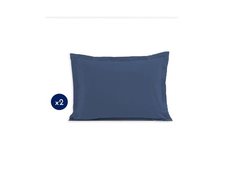 Lot de 2 taies d'oreiller - format rectangulaire 50x70 cm 57 fils - bleu