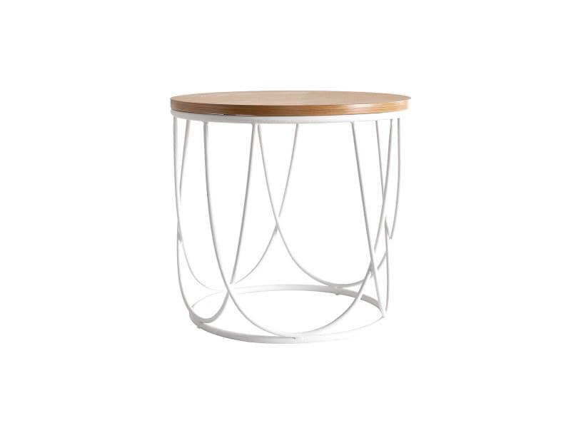 Table d'appoint bois et métal blanc 42 cm lace