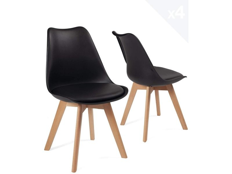 lot de 4 chaises scandinave avec coussin lao noir