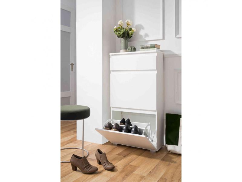 Meuble à chaussures 2 tiroirs en bois coloris blanc - mc7023