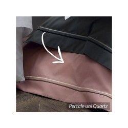 Housse de couette 240x220 cm uni percale pur coton hotel de paris quartz