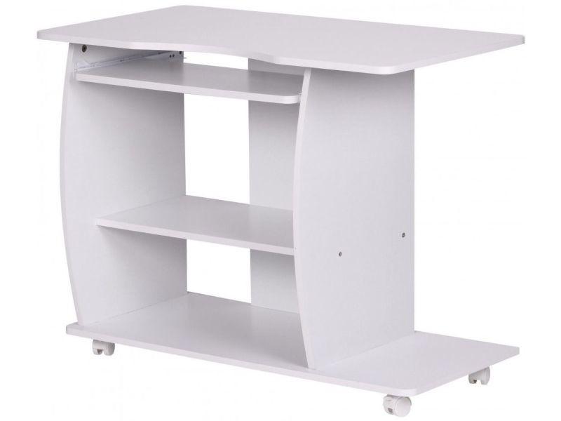 bureau compacte 90 cm avec roulettes pour ordinateur coloris blanc collection c yukimi vente. Black Bedroom Furniture Sets. Home Design Ideas