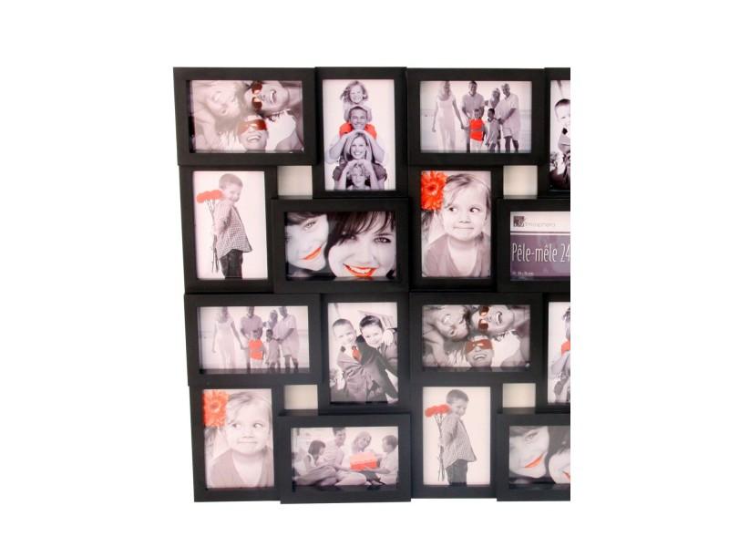 cadre photo p le m le mural coloris noir capacit 24 photos vente de cadre photo conforama. Black Bedroom Furniture Sets. Home Design Ideas