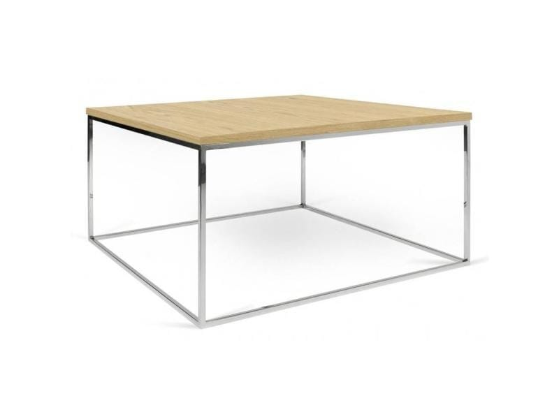 Table basse carrée gleam 75 plateau chêne clair structure chromée 20100864921