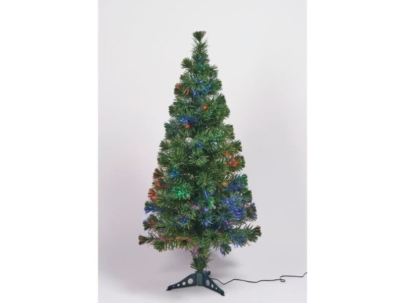 Sapin de noel - arbre de noel sapin vert de noël en pvc - h 120 cm - fibre optique multicolore - 24 v lumiere animée