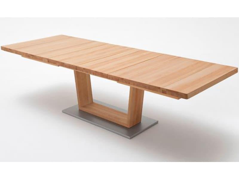 Table à manger extensible en hêtre massif huilé/ciré - l.140/220 x h.77 x p.90 cm -pegane- PEGANE