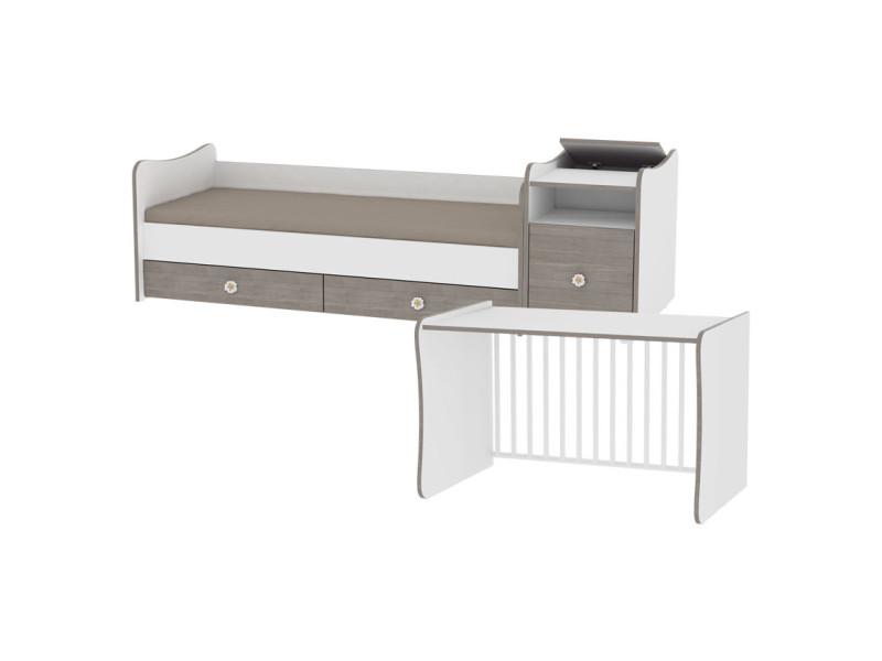 lit b b volutif combin transformable trend plus cappuccino 10150400025 vente de lorelli. Black Bedroom Furniture Sets. Home Design Ideas