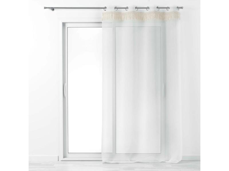 Voilage à oeillets 140 x 280 cm + franges en coton zagora blanc 1626437-blanc
