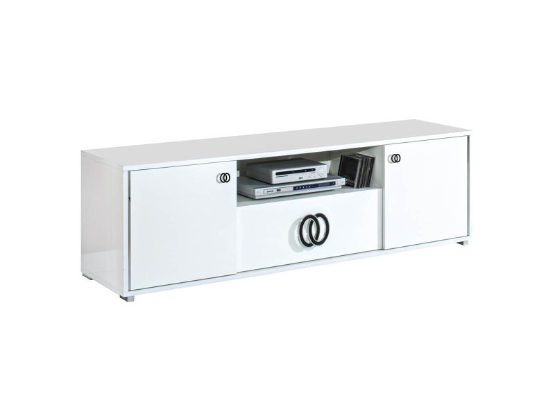 Aglae - meuble tv 2 portes 1 tiroir laqué blanc