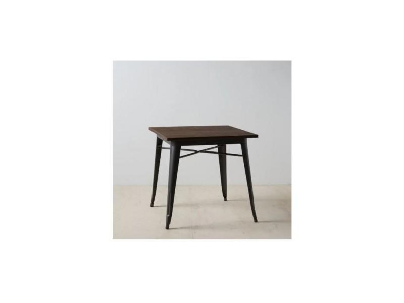 Table à mange gris bois/métal 80 cm dallas