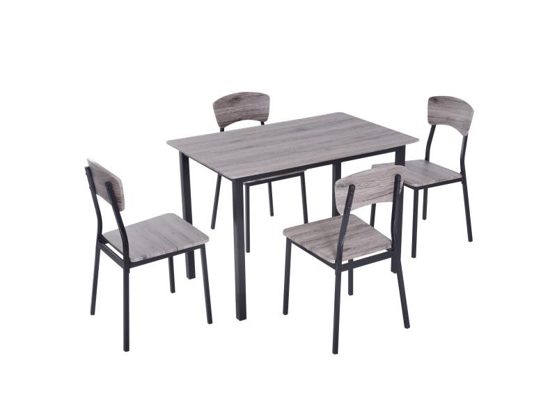 Table de salle à manger avec 4 chaises style industriel acier noir mdf coloris bois de chêne gris