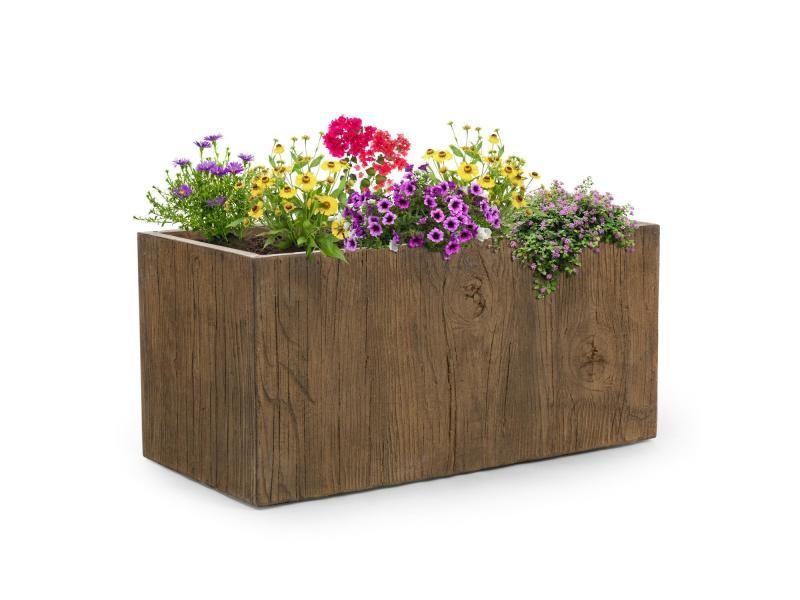 Blumfeldt timberflor bac à fleurs jardinière - 100 x 45 x 45 cm - fibre de verre - marron