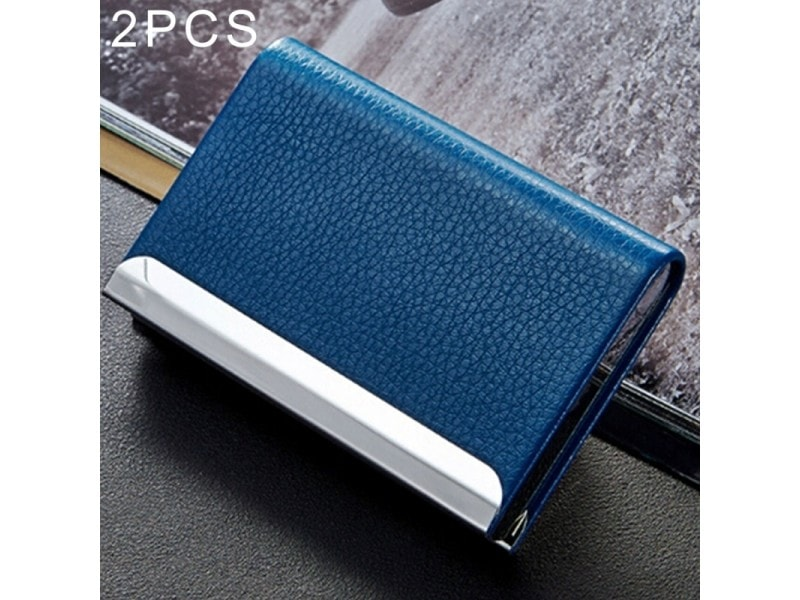 Porte Cartes Bleu Fonce 2 Pcs Lichi Texture De Visite Carte Credit Id Case Holder